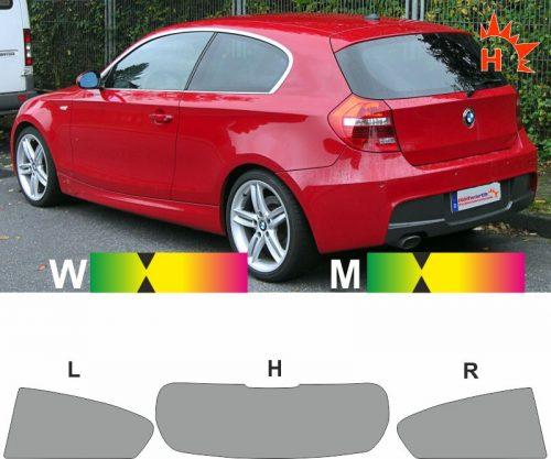 BMW 1er E87 dreitürig 2007 bis 2011 passgenaue tönungsfolie