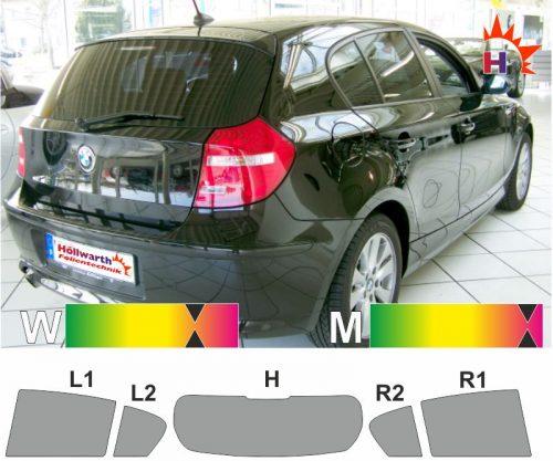 BMW 1er E87 fünftürig 2004 bis 2011 passgenaue tönungsfolie