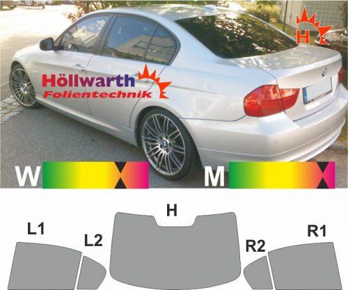 BMW 3er E90 Limousine 2008 bis 2013 passgenaue toenungsfolie