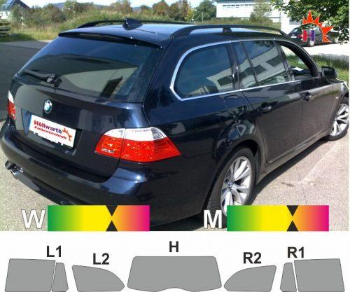 BMW 5er E61 Touring 2004 bis 2010 passgenaue tönungsfolie