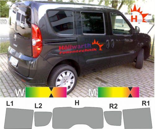 FIAT Doblo II Heckklappe Schiebetüren L R Hebefenster ab 2010 passgenaue TÖnungsfolie