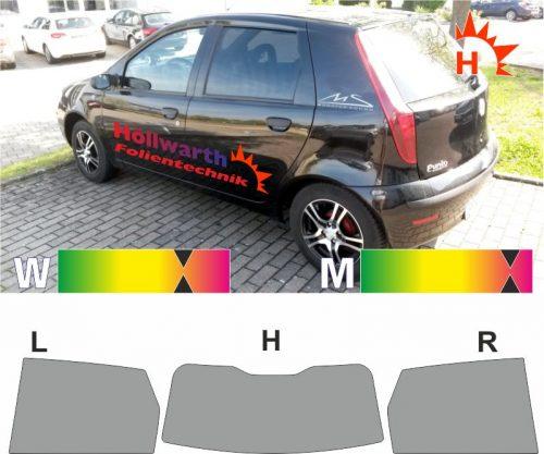 FIAT Punto 188 fünftürig 1999 bis 2007 passgenaue Tönungsfolie