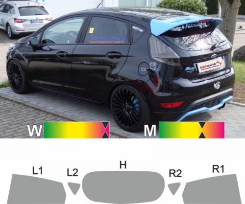 FORD Fiesta MK7 fünftuerig 2008 bis 2017 passgenaue Tönungsfolie