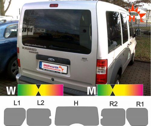 FORD Tourneo Connect 2003 bis 2013 passgenaue Tönungsfolie