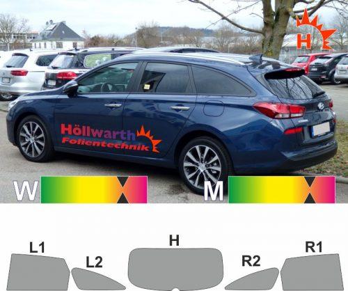 5-Türer 2007-2012 Tönungsfolie passgenau tiefschwarz 95/% Hyundai i30 I FD//FDH