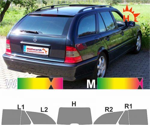 T-Kombi S202 Auto-Sonnenschutz-Scheiben-Tönung-tönen-Tönungs-Folie  MERCEDES C