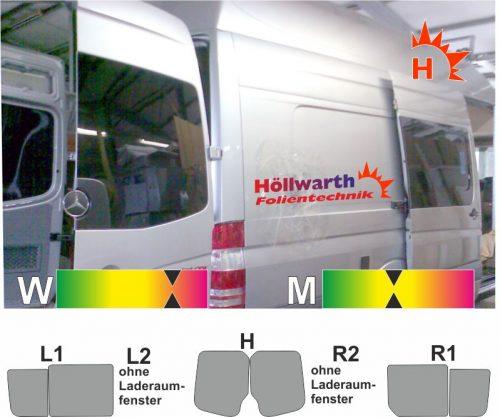 MERCEDES Sprinter II lang Schiebetuer R Schiebefenster l+R passende Tönungsfolie