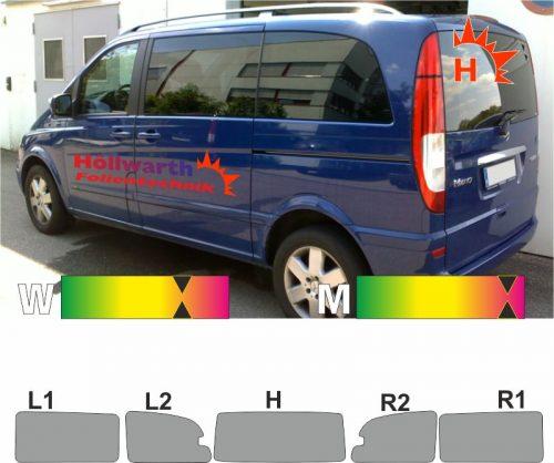MERCEDES Viano kompakt W639 Schiebetuer L_R 2003 bis 2014 passende Tönungsfolie
