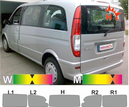 MERCEDES Viano kompakt W639 kurz Schiebetür_R 2003 bis 2014 passende Tönungsfolie