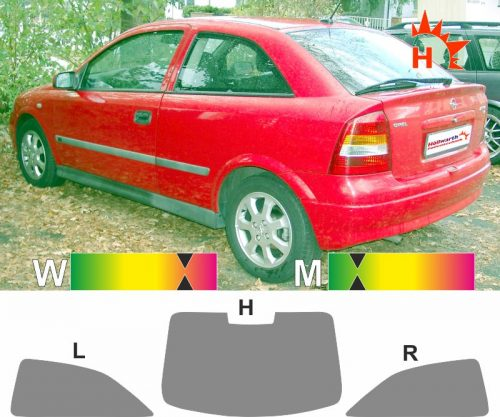 OPEL Astra G dreitürig 1998 bis 2004 passende Tönungsfolie