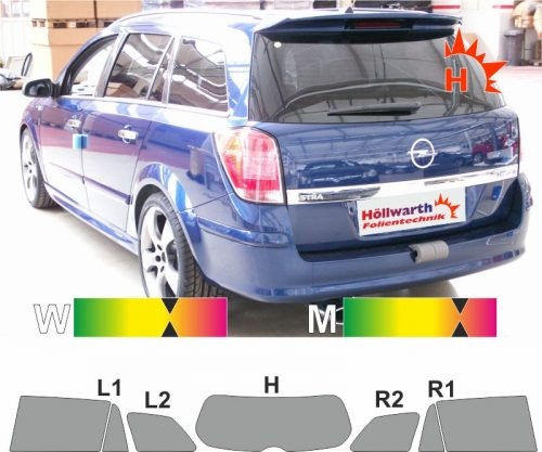 OPEL Astra H Caravan 2004 bis 2009 passende Tönungsfolie