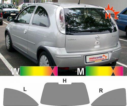 OPEL Corsa C dreitürig 2000 bis 2006 passende Tönungsfolie