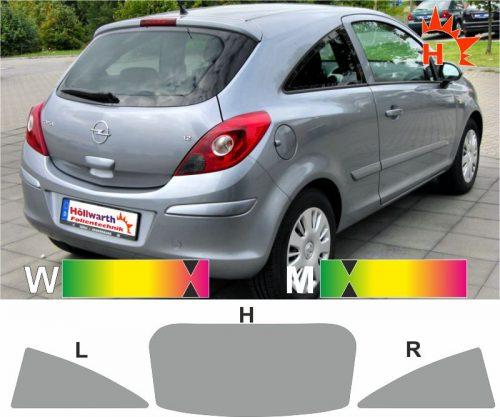 OPEL Corsa D dreitürig 2006 bis 2014 passende Tönungsfolie