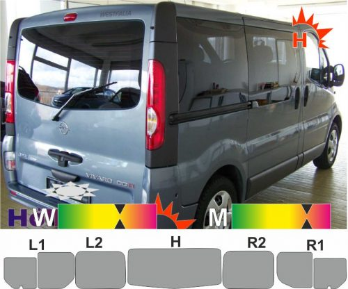 OPEL Vivaro A L1 Heckklappe Schiebetür_R Schiebefenster 2001 bis 2014 passende Tönungsfolie