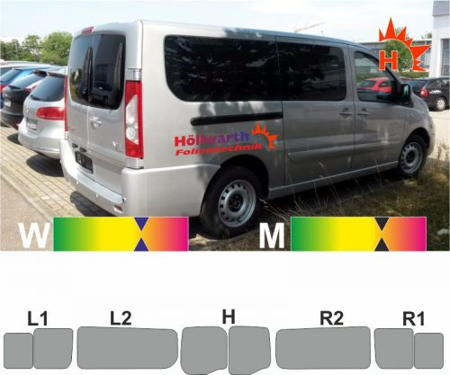 PEUGEOT Expert Tepee L2 Heckfluegel Schiebetueren L_R Schiebefenster ab 2007 passende Tönung