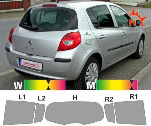 RENAULT Clio III fünftürig 2005 bis 2012 passende Tönungsfolie