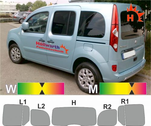 RENAULT Kangoo II Heckklappe Schiebetüren_L+R Hebefenster passende TÖnungsfolie