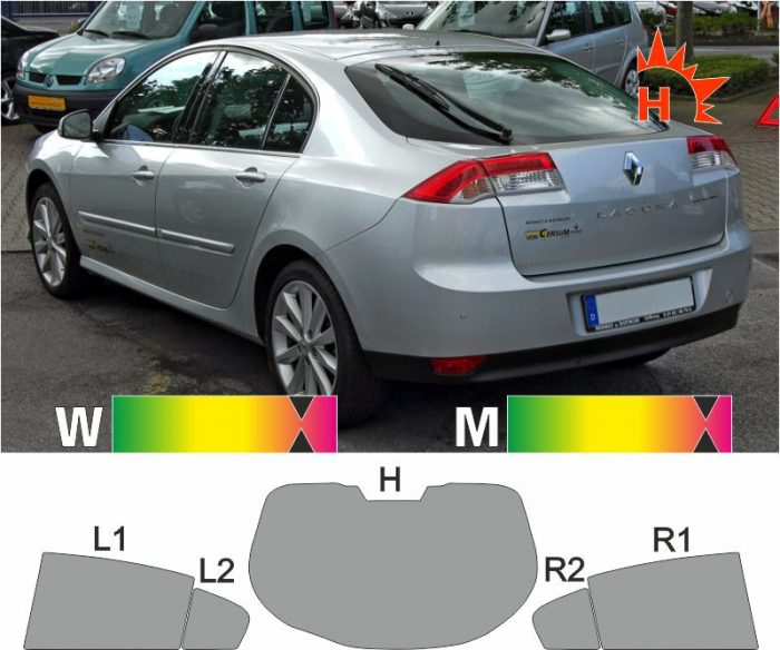 RENAULT Laguna III Limousine 2007 bis 2015 passende Tönungsfolie