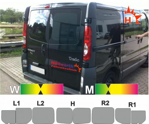 RENAULT TraficII L1H1 Heckflügel Schiebetür_R Schiebefenster passende Tönungsfolie