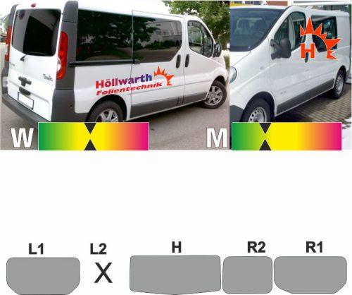 RENAULT TraficII L1H1 Heckklappe Schiebetür R ohne L2 passende Tönungsfolie