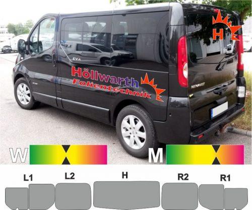 RENAULT TraficII L1H1 heckklappe Schiebetür_R Schiebefenster passende Tönungsfolie