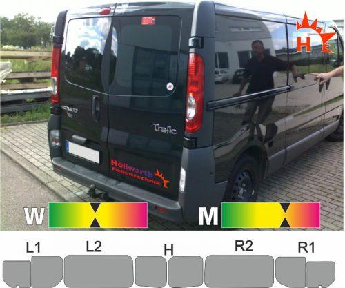 RENAULT TraficII L2H1 Heckflügel Schiebetür_R Schiebefenster passende Tönungsfolie