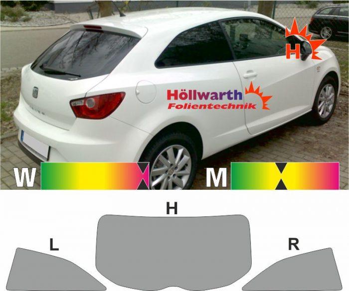 SEAT Ibiza 6J dreitürig 2008 bis 2015 passende Tönungsfolie