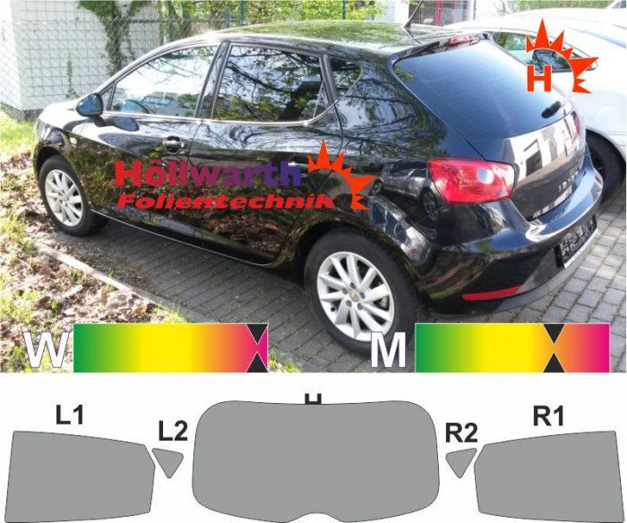 SEAT Ibiza 6J fünftürig 2008 bis 2015 passende Tönungsfolie