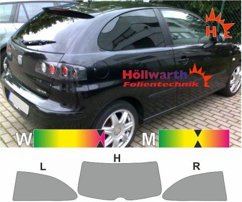 SEAT Ibiza 6L dreitürig 2002 bis 2008 ohne Ausstellfenster passende Tönungsfolie