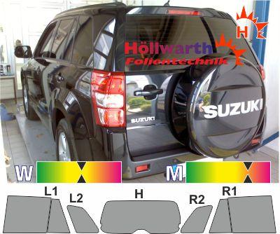 SUZUKI Grand Vitara II fünftürig 2005 bis 2015 passende Folie