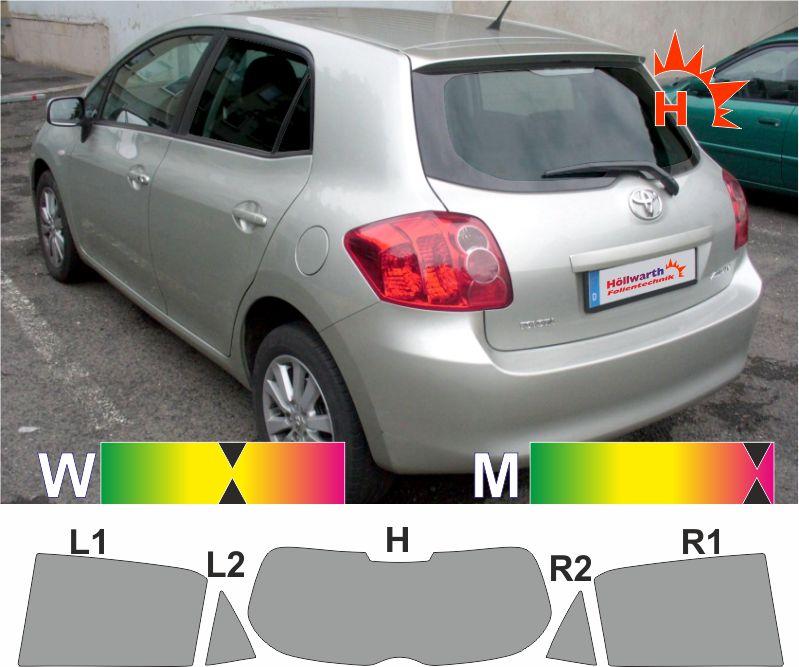 Solar Screen passgenaue T/önungsfolie Toyota Auris 5-T/ürer Bj 2006-2010 Black 95