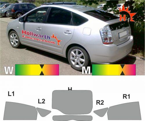 TOYOTA Prius II 2003 bis 2009 passende Tönungsfolie