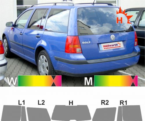 VW Golf IV Variant 1999 bis 2004 passgenaue Tönungsfolie