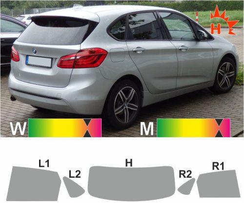 BMW 2er F45 Active Tourer ab 2014 passgenaue Tönungsfolie