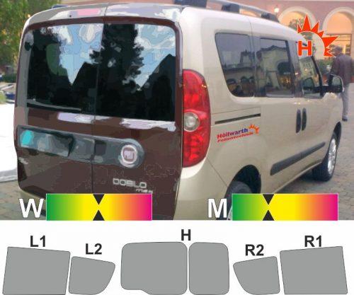 FIAT Doblo II Heckflügeltüren Fensterheber in den Schiebetüren passende Tönungsfolie
