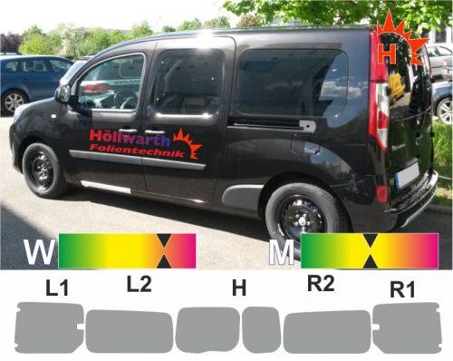 RENAULT Kangoo maxi HFT ST L R Ausstellfenster passende Tönungsfolie