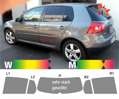 VW Golf V fünftuerig 2003 bis 2009 passgenaue Tönungsfolie