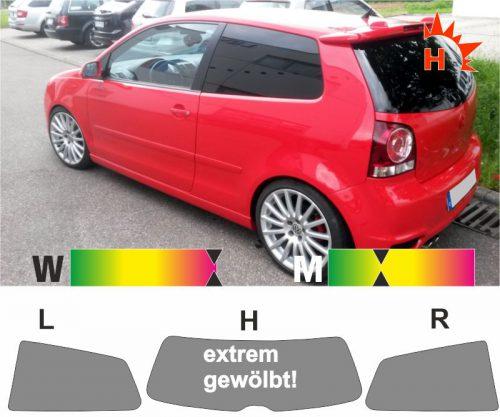 VW Polo IV 9N dreitürig 2001 bis 2009 passgenaue Tönungsfolie