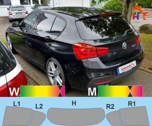 BMW 1er F20 fünftürig facelift 2015 bis 2019 passgenaue Tönungsfolie