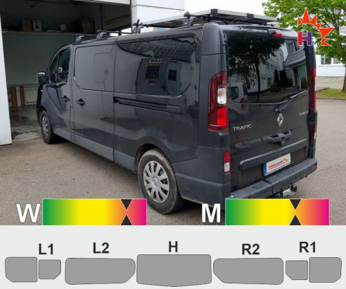 RENAULT TraficIII L2H1 Heckklappe Schiebefenster passgenaue Tönungsfolie